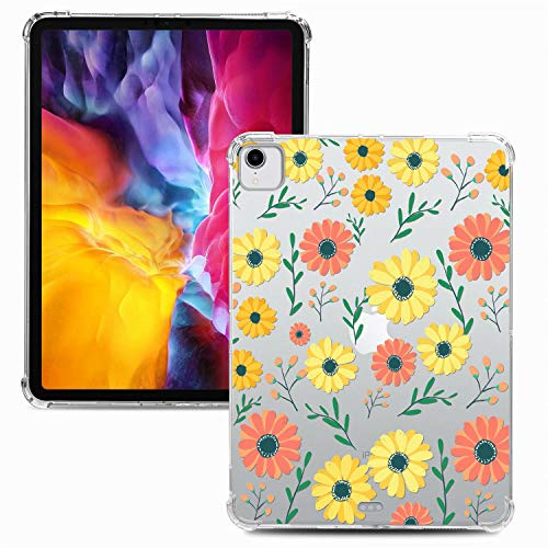 Miagon Weich Dünn Hülle für iPad Pro {11 Zoll} 2018,Kreativ Durchsichtig Bunt Muster Clear Leicht TPU Crystal Bumper Schutzhülle Cover mit Airbag Ecke,Gänseblümchen
