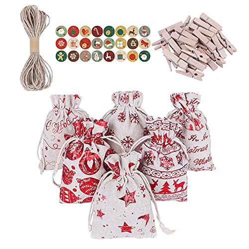 OKUGAIYA 24 sacchetti regalo natalizi in metallo con coulisse, in iuta, metallizzati con cordoncino, con nastro adesivo