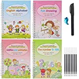Upgraded 4pcs Magic Practice Copybook for Kids, The Print Handwiriting Workbook, Reusable Writing Practice Book, Alphabet Book with Pen (Style-Two)