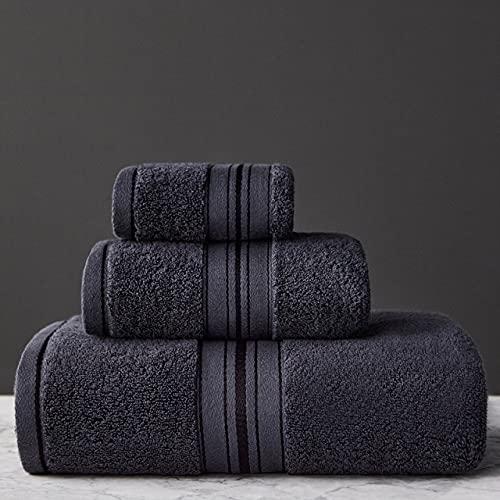 IAMZHL Juego de Toallas de baño algodón Suave Toalla súper Absorbente Cara Toalla de baño Gruesa y Grande baño Hotel Sauna-Dark Grey-3towel Set