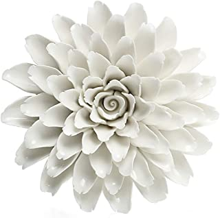 ALYCASO Handmade 3D Ceramic Peony Wall Pediments Sculpture Decoration Porcelain Flower for Living Room, Bedroom, Kitchen, White, 5.91 in