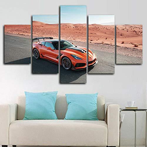 ERSHA 5-teiliges Wandbild auf Leinwand, 5-teilig, dekoratives Wohnzimmer, Kinderzimmer, modulares Poster Zr1 Supercar (gerahmt)