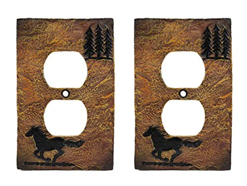 Ebros Set of 2 Novelty Rustic Country Western Galloping Mustang Horse And Pine Trees Silhouette Resin Wall Electrical Cover Plates (Double Receptacle Outlet)