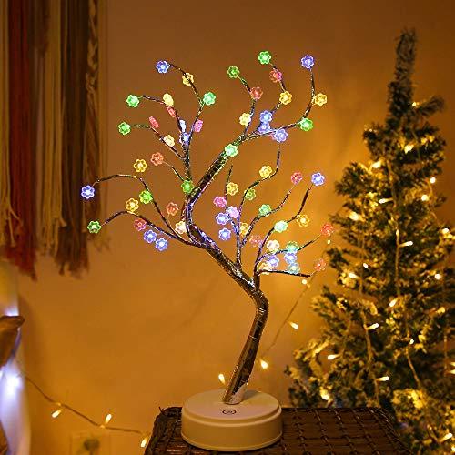 Luces de mesa para el árbol de bonsái - 60 flores LED Luz artificial para el árbol Batería/Mini árbol de Navidad operado por USB Ramas ajustables para la decoración del hogar (Multicolor)
