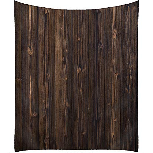 QCWN Wood Tablecloth,Dark Brown Grid Wooden Retro Boho Style Tablecloth,Dining Room Kitchen Rectangular Table Cover. Brown 55x55Inch