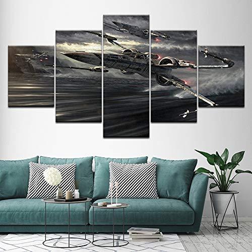 YTDZ Painting 5 Piezas Cuadro sobre Lienzo Imagen Avión de Acorazado Espacial Futuro Negro 200x100cm Impresión Pinturas Murales Decor Dibujo Fotografía para Tu Salón o Dormitorio