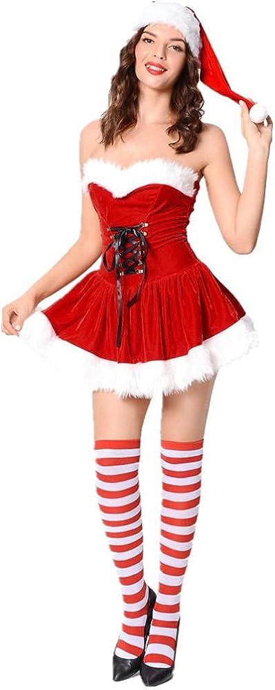 Cos-Animefly Women's Velvet Minneapolis Mall Christmas Max 63% OFF Corset Party Set Cosplay