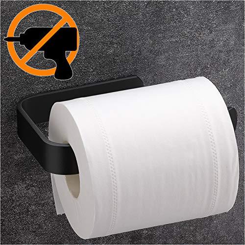 Wangel Toilettenpapierhalter ohne Bohren, Handtuchring Handtuchhalter, Patentierter Kleber + Selbstklebender Kleber, Aluminium, Matte Finish, Schwarz