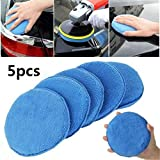 Esponja de pulido para coche de 5 piezas, almohadilla de aplicador de cera para coche de microfibra suave para ceras, limpiador de pintura, esmalte para coche, herramientas de cuidado automático