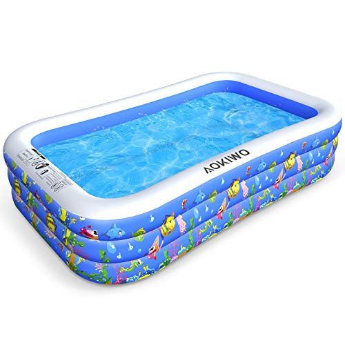 AOKIWO Family Swimming Pool, 121' X 71' X 21' Full-Sized Inflatable Lounge Pool Kiddie Pool for...
