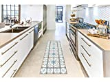 Oedim Alfombra Mosaicos Color Azul/Gris para Habitaciones 2 PVC | 60 x 200 cm | Moqueta PVC | Suelo vinílico | Decoración del Hogar | Suelo Sintasol | Suelo de Protección |
