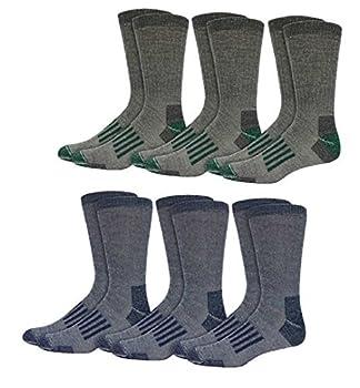 Kirkland Signature men s Outdoor Trail Sock 6-pair  Grey/Navy/Brown  Shoe Size 7-9.5