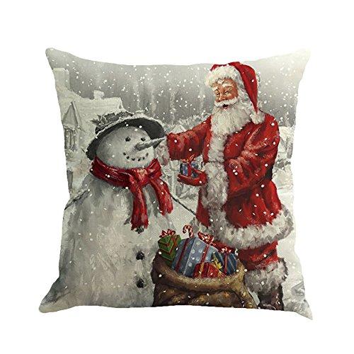 About1988 Kissenbezüge, 45cm*45cm Baumwolle Leinen Weihnachten Deko Kissenbezug Sofa Bett Auto Home Decor Festival Kissenhülle (FarbeA)