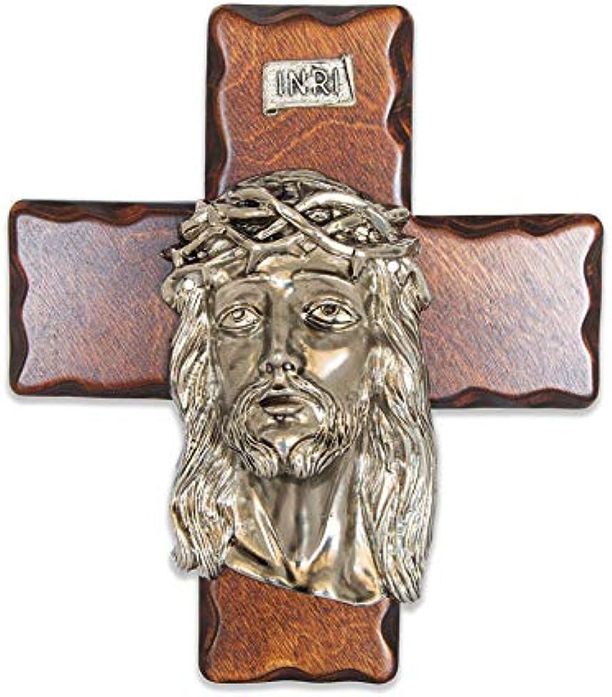 La balestra crocifisso in legno da parete, cristo argentato