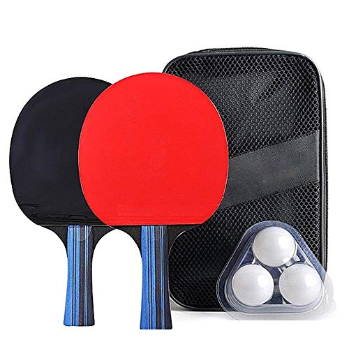 Best Review Of CHQUC Ping Pong Paddle Set Table Tennis Racket Set with 2pcs Ping Pong Paddles and 3p...