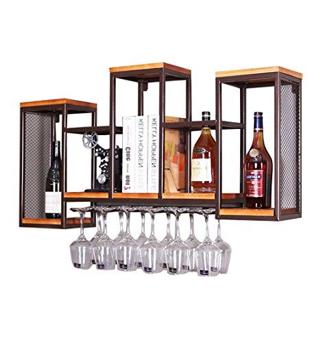 Weinregal Weinregale Wandhalterung Holz Vintage Wandregal | Wein Flaschenhalter | Weinglashalter | Weinschrank Metall Eisen