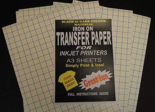 Jet d'encre imprimable fer sur T-shirt Tissu & papier transfert pour tissus foncé 50 feuilles A3