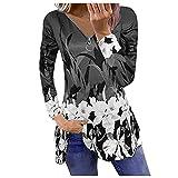 Liably Camiseta para mujer con estampado de flores, cierre de cremallera, retro, manga larga, multicolor, para otoño e invierno, elegante, para el tiempo libre, gris, L