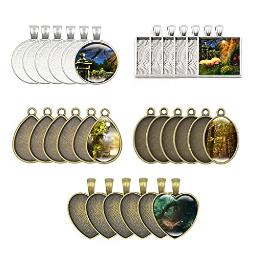 DealMux - Bandeja con colgante de bisel para fotos, 60 piezas, 5 formas, configuración de cabujón de cristal, fabricación de joyas