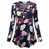 Sufeng Women Plus Size Long Sleeve Print V-Neck Button Pullover Tops Shirt