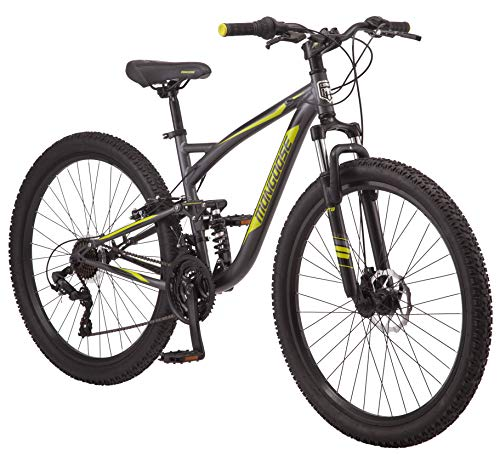 Mongoose Status 2.4 Mens and Womens Mountain, 27.5-Inch Wheels, Aluminum Frame, Dual Suspension, Dark Silver