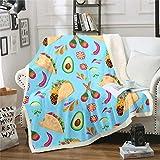 Loussiesd Manta de forro polar para niños, con diseño de pollo, para adolescentes, diseño floral, con estampado de aguacate, chile, bonita manta para decoración de dormitorio de bebé, 76,2 x 101,6 cm