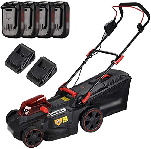 Cordless Push Lawn Mower, Brushless Rotary Lawnmower, 37cm Cutting Width, 6 Adjustable Mower Heights, Low Noise, with Lithium‑Ion Battery & Fast Charger (Color : W/4x 2.0ah Battery)