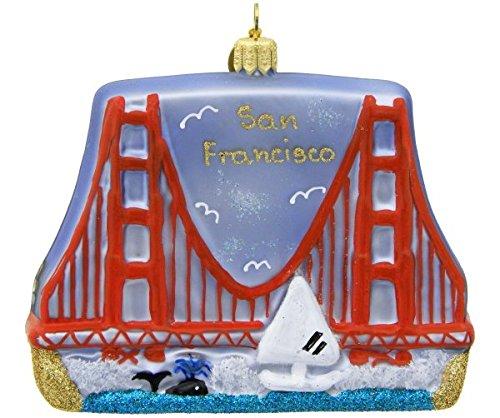 Landmark Creations San Francisco Golden Gate Bridge European Glass Blown Christmas Ornament