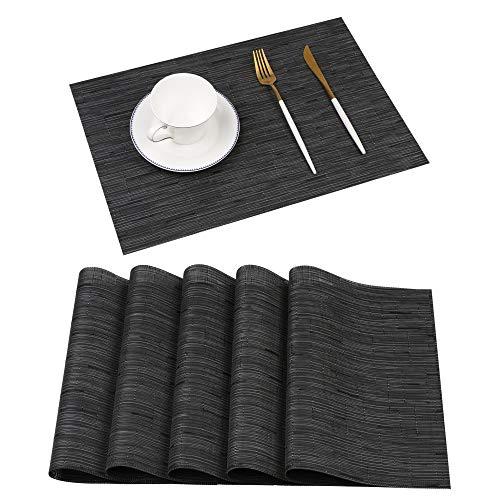Famibay Platzsets Abwashbar Bambus Tischsets 6er Set Schwarz rutschfest Kunststoff Platzdeckchen (I-Black 6)