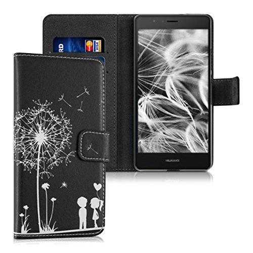 kwmobile Hülle kompatibel mit Huawei P9 Lite - Kunstleder Wallet Case mit Kartenfächern Stand Pusteblume Love Weiß Schwarz