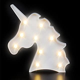 Kicko Unicorn Night Light LED Lamp - 1 Piece - Battery Operated 9.75 Inch Light Box Marquee Signs - Ideal for Party Supplies, Table and Wall Decoration, Kids' Room, Home Decor, Party Favors