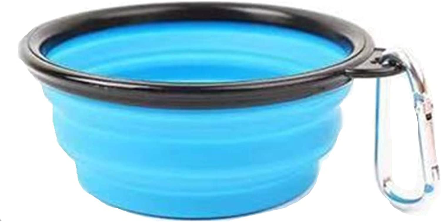 Foldable color Dog Bowl Silicone Folding Silicone Pet Bowl Out Portable Pet Lunch Box Durable NonToxic Safety Health Feeder,bluee