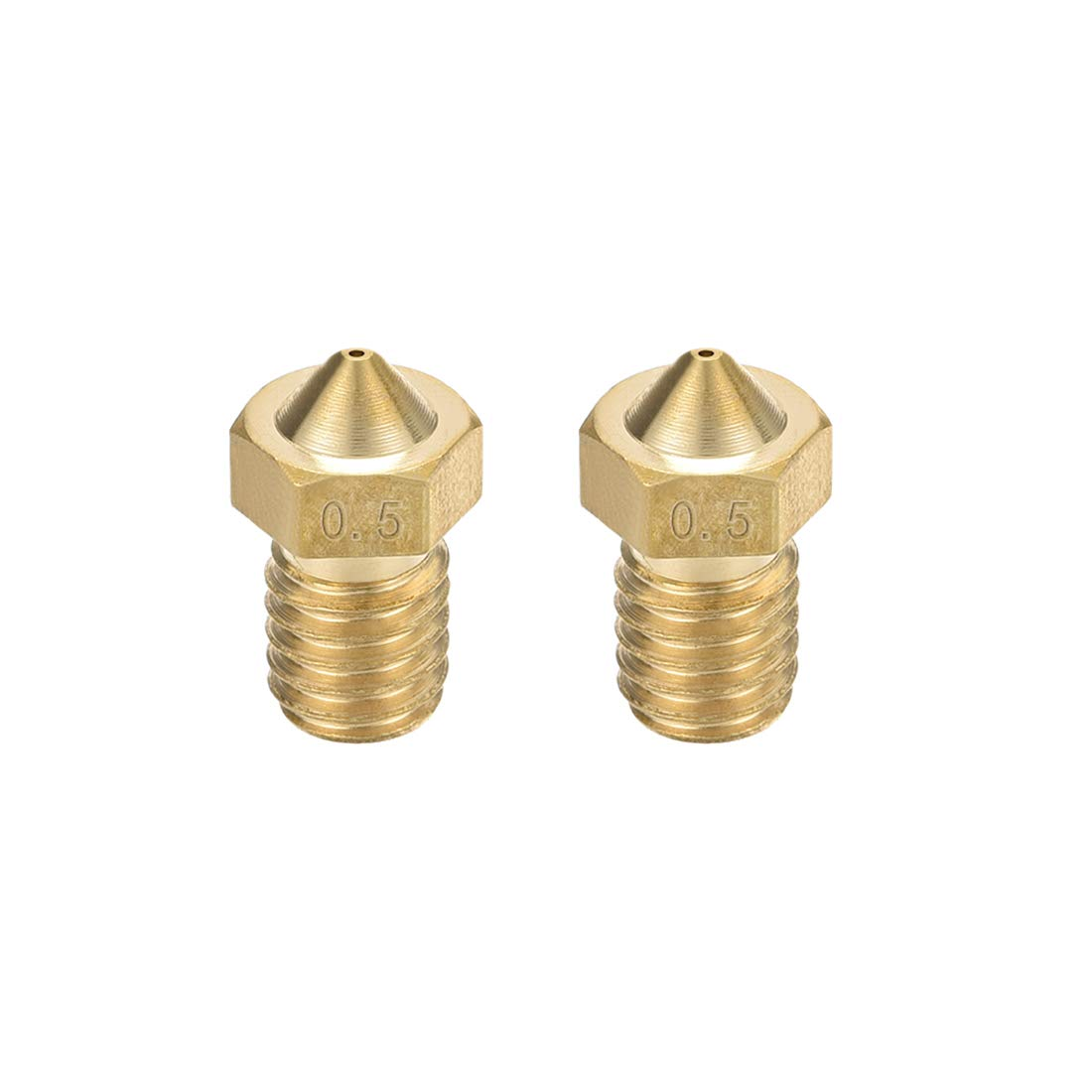 uxcell At the price 2pcs 3D Printer Nozzle Pri shopping 0.5mm Brass Extruder V6