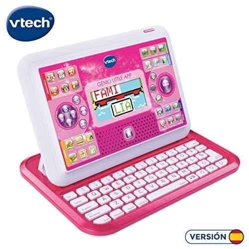 VTech Genio Little App, Juguete para aprender en casa, ordenador tablet educativo para jugar en dos modos distintos, 80 actividades que enseñan letras, inglés, matemáticas, ciencias, rosa (80-155557)