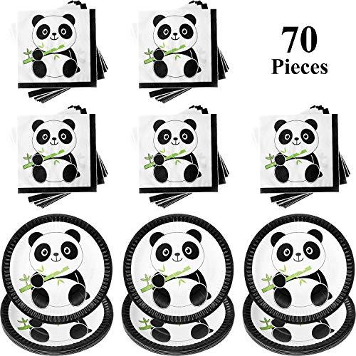 Kit de Decoración de Fiesta de Panda, Incluye 30 Piezas Platos de Pastel de Papel de Panda y 40 Piezas Decoraciones de Fiesta de Cumpleaños de Servilletas de Bebé Panda para Niños y Ducha de Bebé