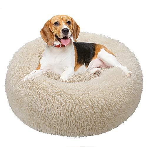 TAMOWA Cama Perro Suave Cama Gato Redonda, Camas de Gatos Perros de Donut con Parte Inferior Antideslizante, Cómodo Suave y Cálida Cama para Mascotas Gatos y Perros Pequeños, 80cm, Beige