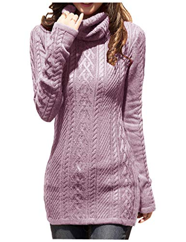 v28 Women Polo Neck Knit Stretchable Elasticity Long Slim Sweater 6-10,Orchid