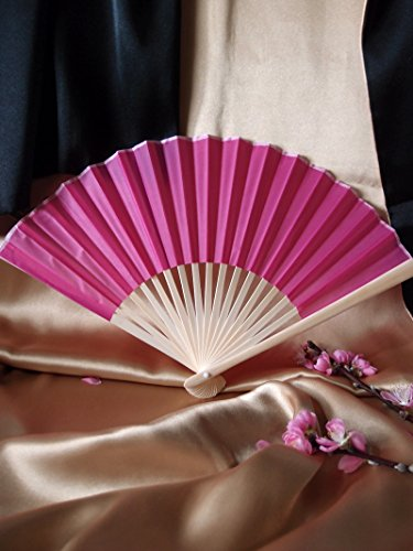 "9"" Fuchsia/Hot Pink Chinese Folding Silk Hand Fan for Weddings"