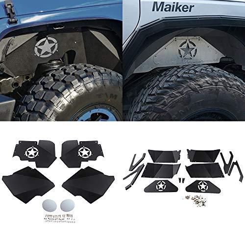 MAIKER Front and Rear Inner Fender Liners w/Five Star Logo for 2007-2017 Jeep Wrangler JK JKU 4WD Lightweight Aluminum Design Black
