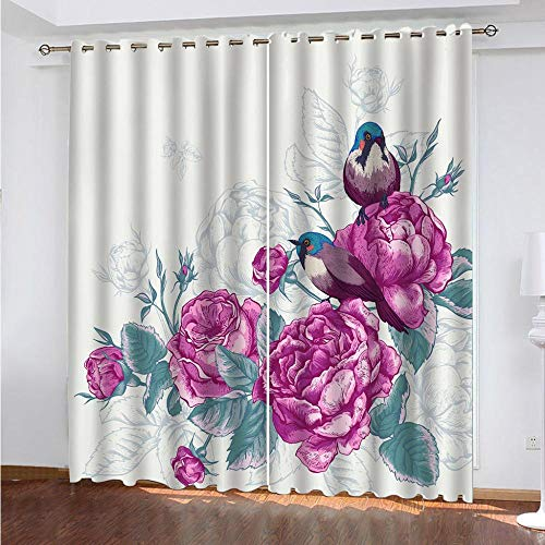 KAOLWY Blackout Curtain with Eyelets, Birds and Flowers 150 x 166 cm, Thermal Blackout Blackout Curtains with Eyelets for Living Room Interior Windows 2 Panels