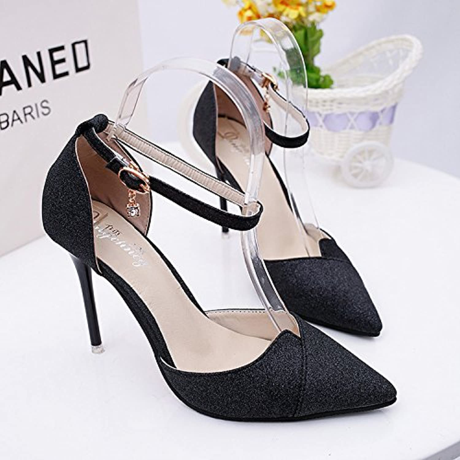 JKFESX Water Drill High Heel Sandals Spring and Summer 2019 Pure color Women's Sandals High Heel Fashion Women's shoes