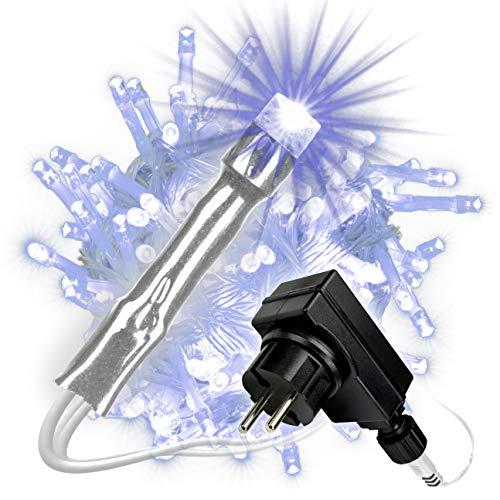 Nipach GmbH 200 LED Lichterkette blau für Innen Aussen transparentes Kabel Trafo Timer 28 Meter Weihnachtsbeleuchtung Weihnachtsdeko Partydeko Xmas