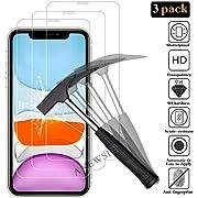 """ANEWSIR [3 Pack] Protecteur d'écran iPhone XR/iphone 11, iPhone XR Film Protection en Verre trempé écran Protecteur vitre - [9H / sans Bulles d'air/Anti Rayures] - Verre Trempé pour iPhone XR (6.1"""")"""