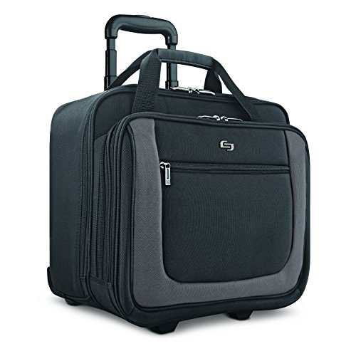 """Solo New York Bryant Rolling Bag with Wheels, Fits Up to 17.3-Inch Laptop, Black/Grey, 14"""" x 16.8"""" x 5"""""""
