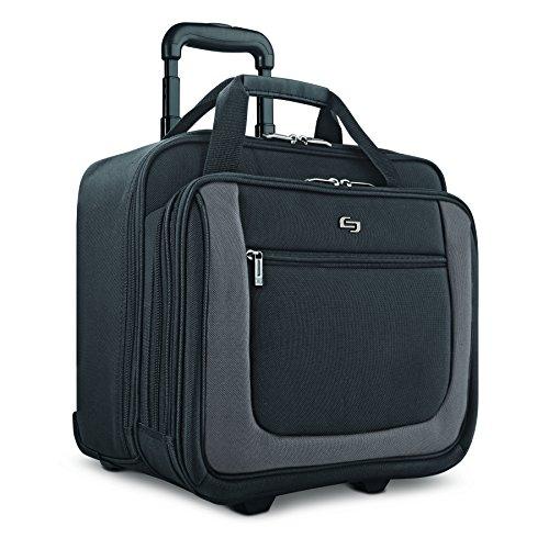 "Solo New York Bryant Rolling Laptop Bag, Black/Grey, 14"" x 16.8"" x 5"""