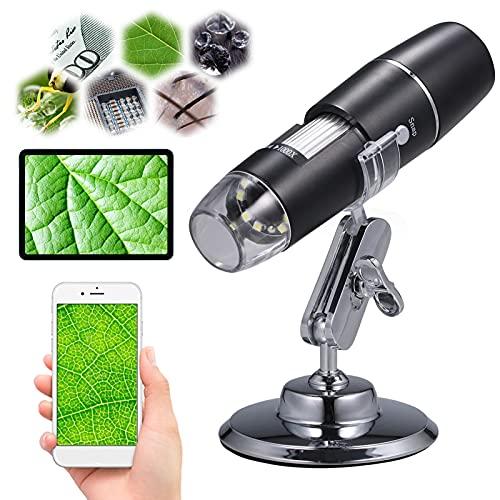 KKmoon WiFi Microscope Numérique, sans Fil Microscope USB Portable 50x-1000x avec 8 LED Haute Définition Noël Halloween Cadeau pour Enfants, pour Windows...