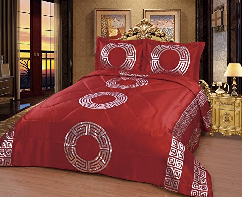 Colcha–Juego de colcha cama XXL 250x 260cm + 2fundas de almohada nuevo Sultan, rojo, 250 x 260 cm
