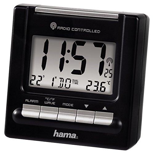 Hama Reise Funk Wecker RC200 (Thermometer, Hintergrundbeleuchtung, zwei Weckzeiten, automatische Zeitanpassung) schwarz