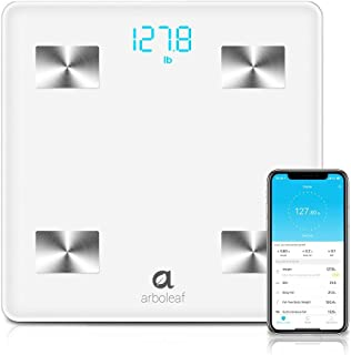 Arboleaf Digital Scale - Bluetooth Smart Scale Bathroom Weight Scale, 10 Key Composition, iOS Android APP, Unlimited Users, Auto Recognition, BMI, BMR