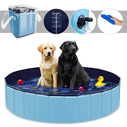 YAOBLUESEA Piscina para Perros, 160x30 CM Piscina para Perros Bañera Plegable para Mascotas - Gran/Azul